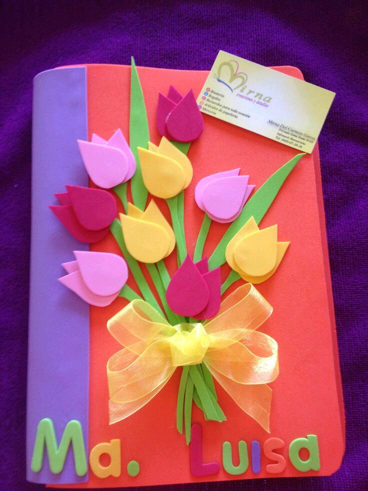 M s y m s manualidades crea hermosas tarjetas con foamy o for Decoracion 10 de mayo