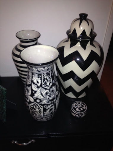 black and white vases