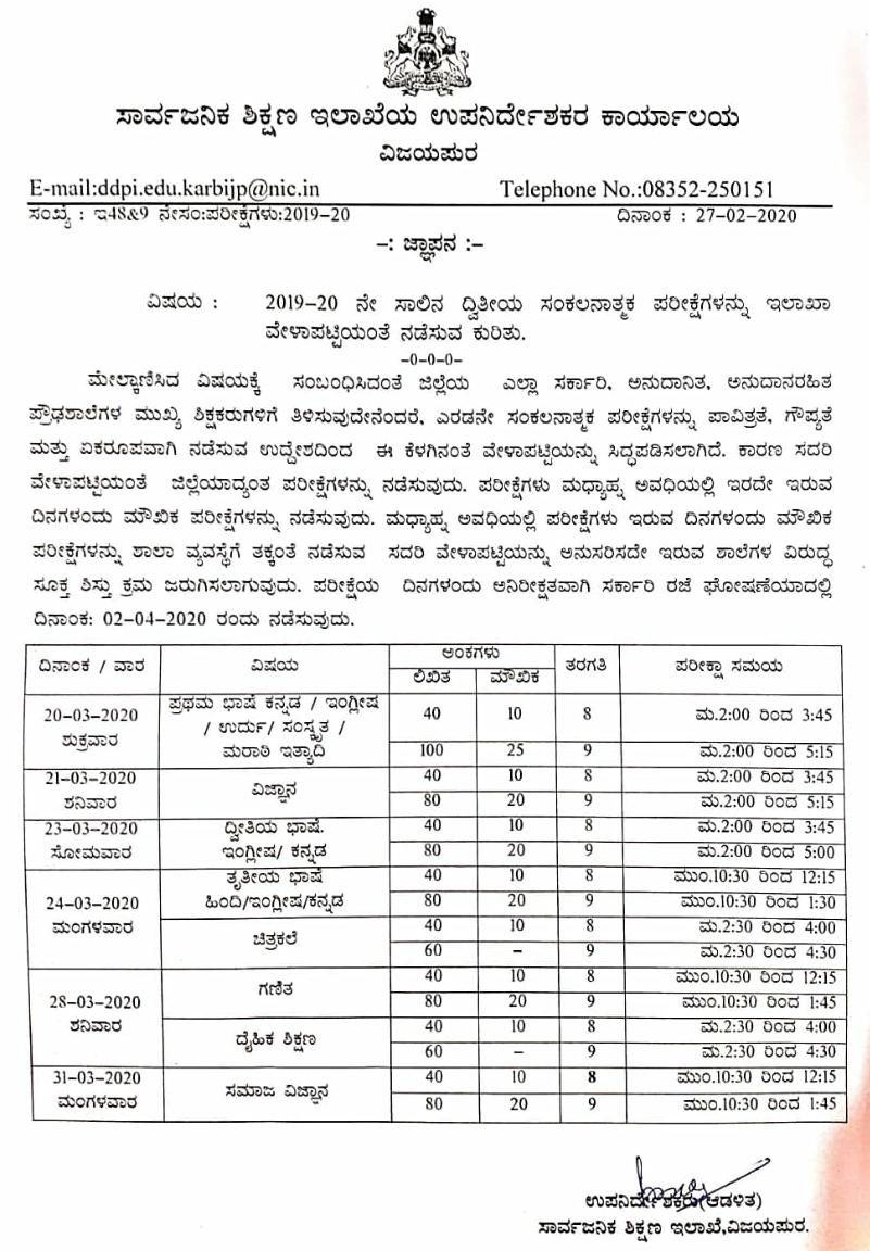 Conducting secondary compilation examinations for the year 2019-20 as per department schedule