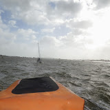 The ALB continues to tow the yacht across the harbour, back towards its mooring - 27 October 2013. Photo credit: RNLI Poole