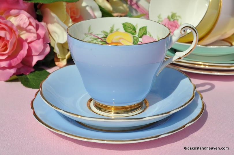 Harleigh Blue Vintage Teacup Trio