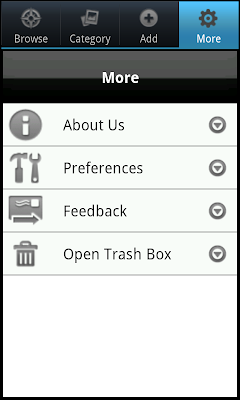 Voice4u More Tab on Android