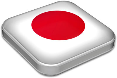 Flag of Japan with metallic square frame