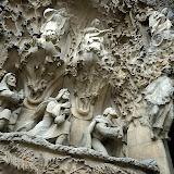 Sagrada Familia (Basilica and Expiatory Church of the Holy Family) by Antoni Gaudi. Detail of facade. Barcelona