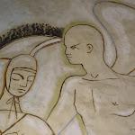 Chapelle Saint-Blaise-des-Simples : fresque (la Résurection), détail du soldat et de l'ange