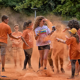 Orange Fun ! by Marco Bertamé - Sports & Fitness Other Sports ( color run, color runner, woman, powder, lady, shower, fun, running,  )