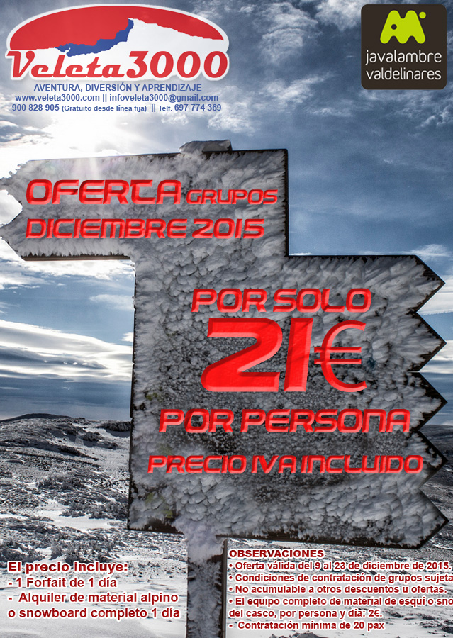 Oferta 1 Día Esquí Javalambre Valdelínares para grupos - Diciembre 2015