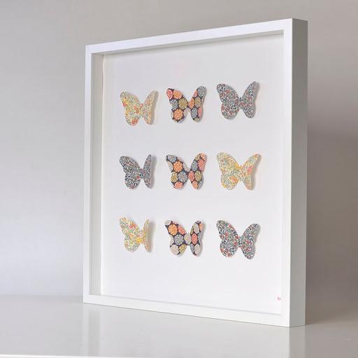 Grand cadre papillons Bleu et jaune Mille Coquelicots