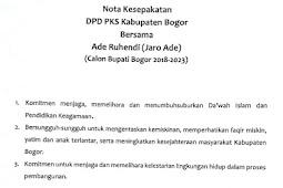 Partai PKS Buat Nota Kesepakatan Dengan Jaro Ade Calon Bupati Bogor