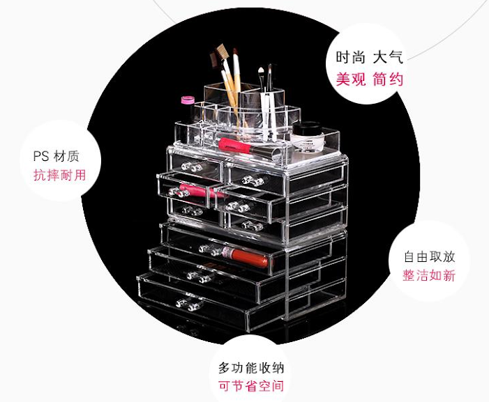 9 Drawers Cosmetic Organizer Clear Acrylic Makeup Case Box Jewelry Storage Premium Set