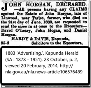Horgan John 1883 estate notice