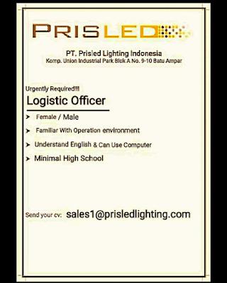 Lowongan Kerja Logistic Officer   PT. Prisled Innovative Lighting Indonesia
