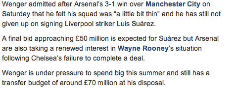 Arsenal prepare £50m bid for Luis Suarez, Wenger still has £70m [Daily Telegraph]