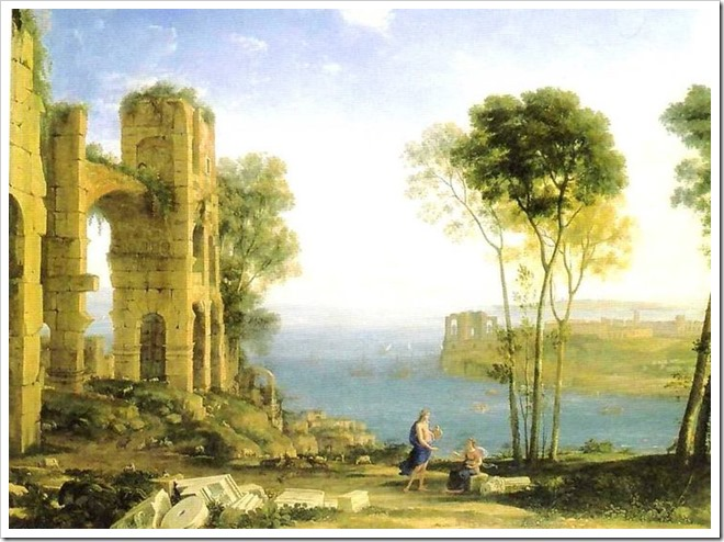 apollo and cumaen sibyl -bay of naples -between 1645-1649 - by claude lorrain