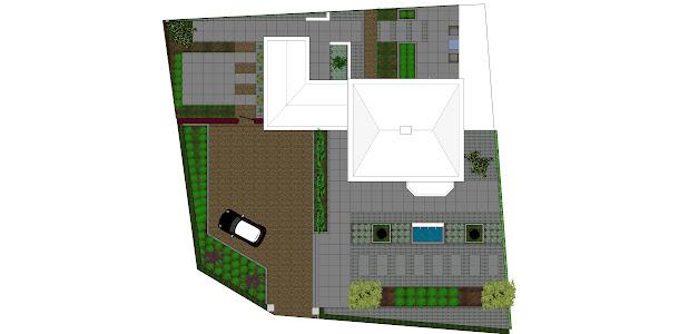 Moderne tuin met grote voortuin