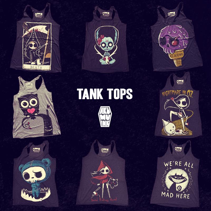tank tops, summer tank tops, goth tank tops, emo tank tops, punk tnak tops, skull tank tops, hottopic tank tops, dropdead tanktops, akumuink