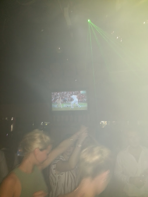 I am watching the Ashes in a nightclub on a stag do. Love HK…