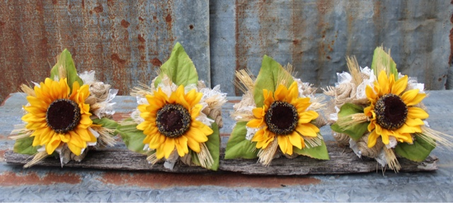 Burlap and sunflower bridesmaid bouquet
