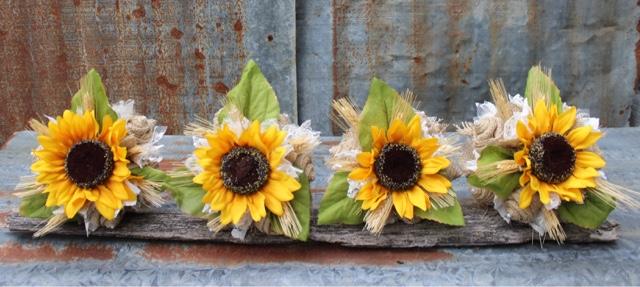 Burlap and sunflower bridesmaid bouquet