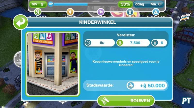 De Sims FreePlay kinderwinkel