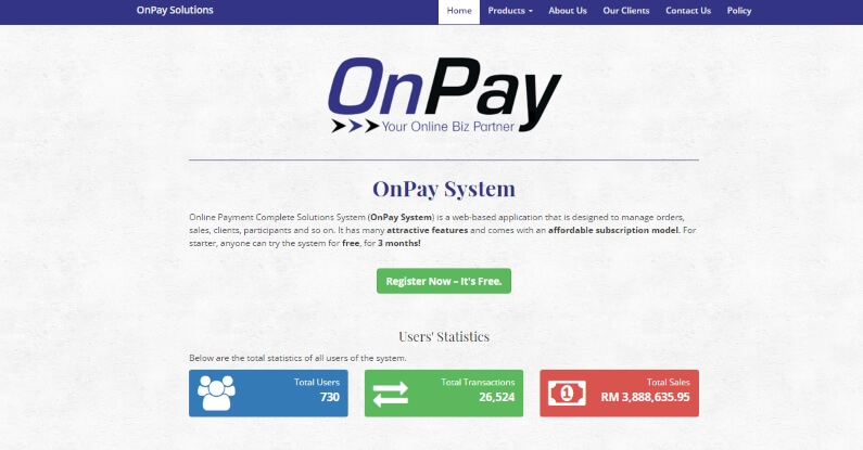 Platform Affiliate Malaysia OnPay Frontpage