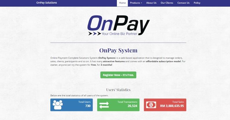 Platform Affiliate Malaysia OnPay Frontpage