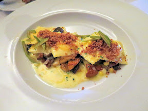 Bouillon Bilk in Montreal, ravioli, corn, lamb, porcini, olive, swiss chard
