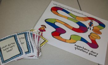 Super Hero Story Recall and Comprehension Game Board