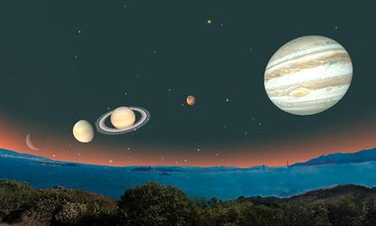 o alinhamento dos cinco planetas