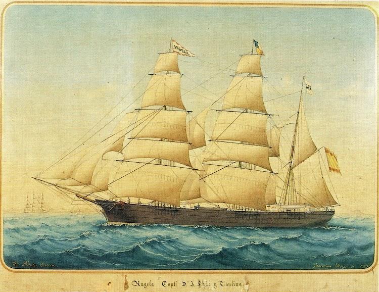 La barca ANGELA en pintura de Jose Pineda datada el 21 de marzo de 1875. Donación Angel Martinez i de Laguardia. Del libro La Marina Mercant de Lloret de Mar.tif