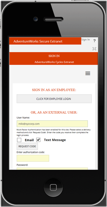 ExCM Extranet OnPrem responsive Sign In page - iPhone
