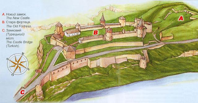 Схема оборонних укріплень. Кам'янець-подільська фортеця
