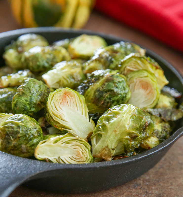 close-up photo of ranch roasted brussels sprouts in a skillet