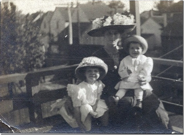 MILNE_Florence in hat on porch with Dorothy & Bob circa 1909