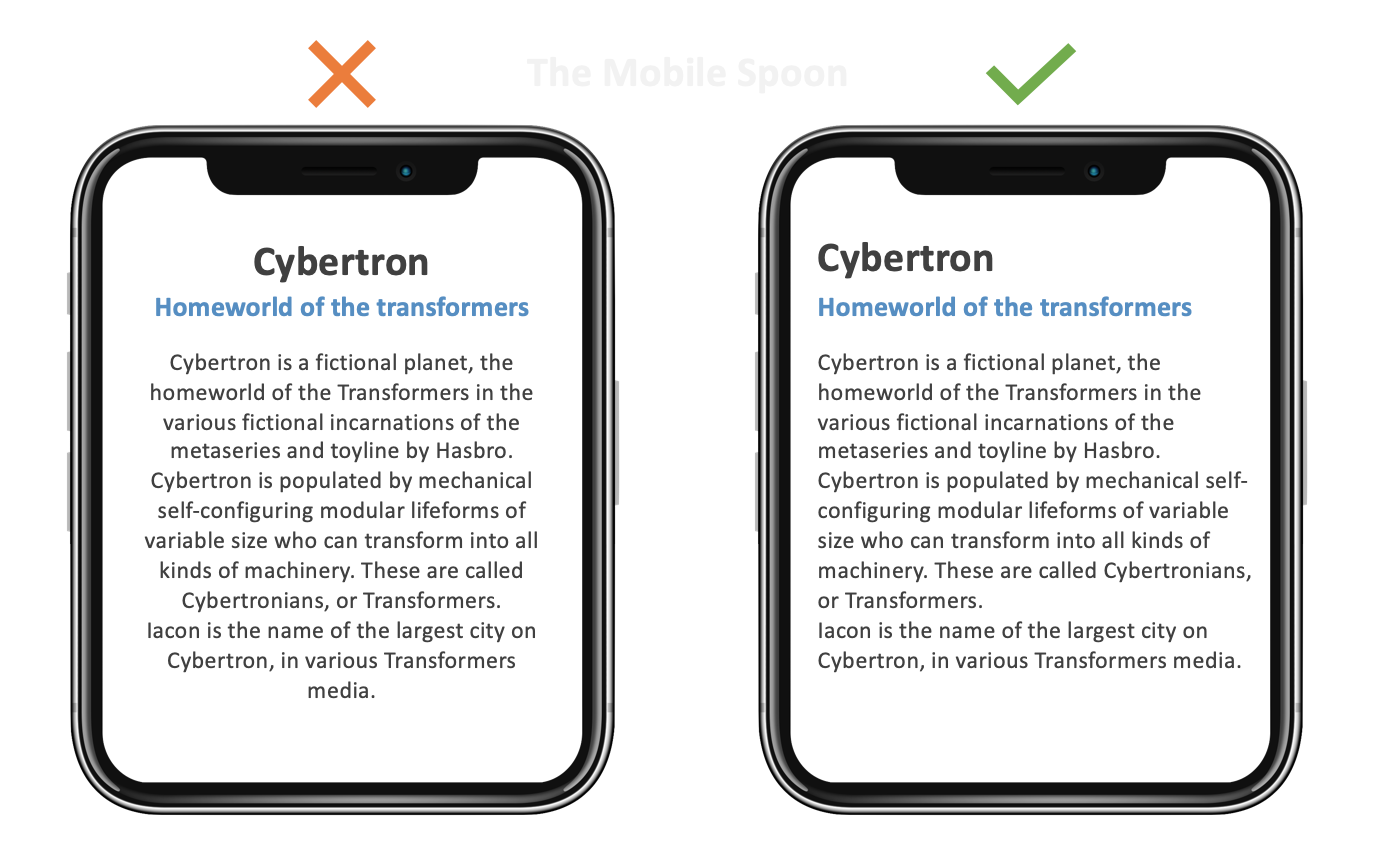 Mobile UI Design - center text alignment works well for short sections but it's harder to read