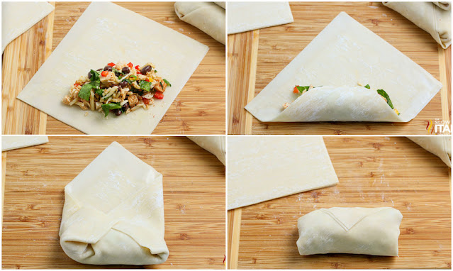 southwestern egg rolls - how to roll them