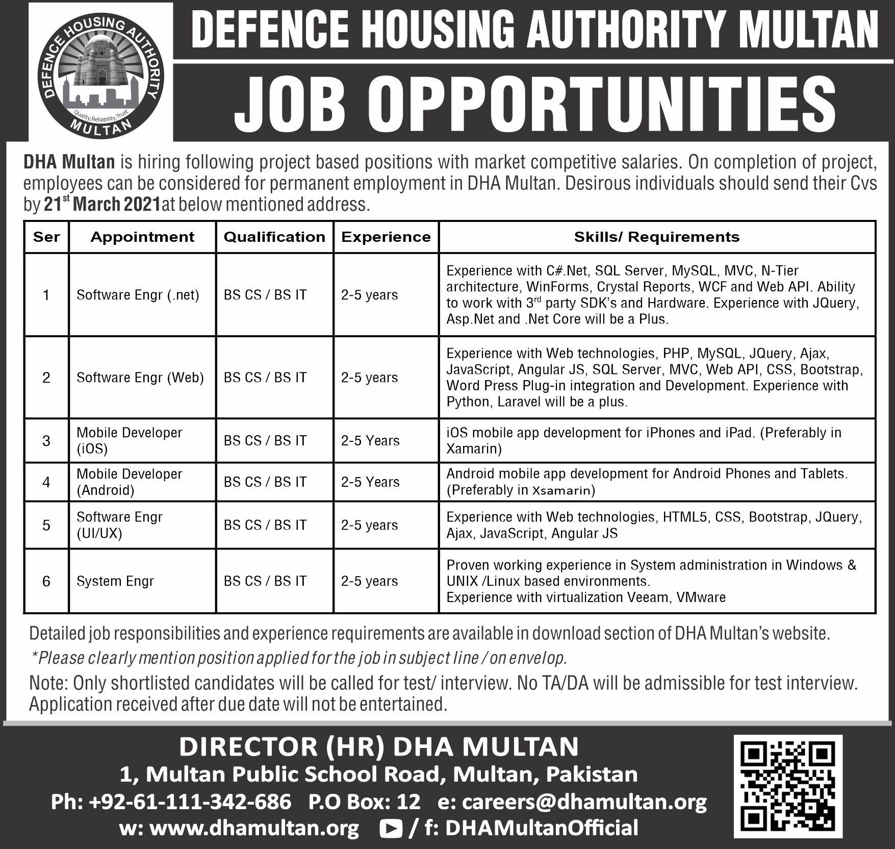 DHA Defense Housing Authority Multan Jobs 2021| Latest jobs in DHA| Apply Now