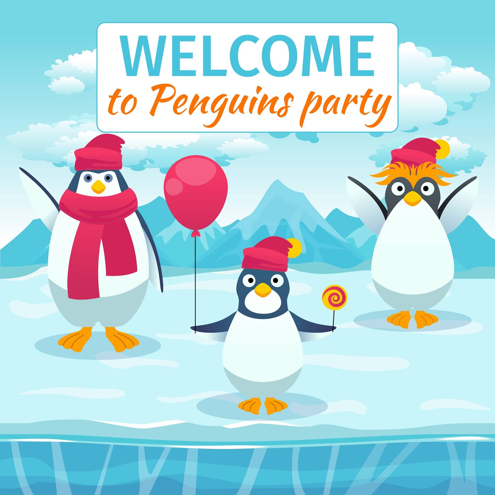 Funny Penguins Card Party Invitation Welcome Festival Holiday Event Celebrate Template Banner Vector Illustration Free Download Vector CDR, AI, EPS and PNG Formats
