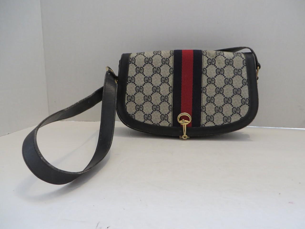 Vintage Gucci Canvas Shoulder Bag
