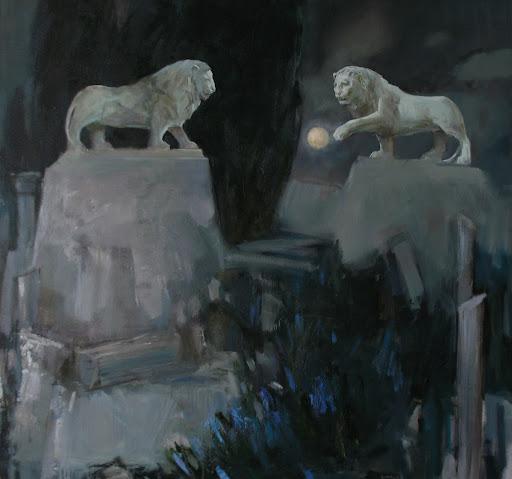 Анна Сярова, Лунные игры мраморных львов, 80х85см, холст, масло