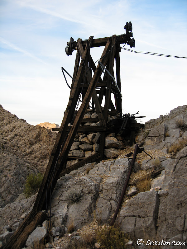 The first tram tower that spanned cable across the canyon from the mine before the cable dropped to the valley floor below.