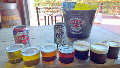 A look inside the patio and a sampling tray at Oskar Blues The Tasty Weasel