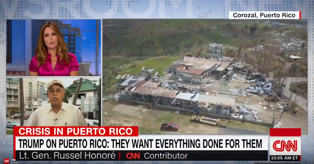 "Screenshot of Retired Lt. General Russel Honoré in a CNN interview on 30 September 2017, saying firing back at Trump over his early morning tweets attacking Puerto Rican leaders: ""The mayor's living on a cot, and I hope the president has a good day at golf."" Photo: CNN"