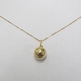 18K Gold Soccer Ball Pendant Necklace