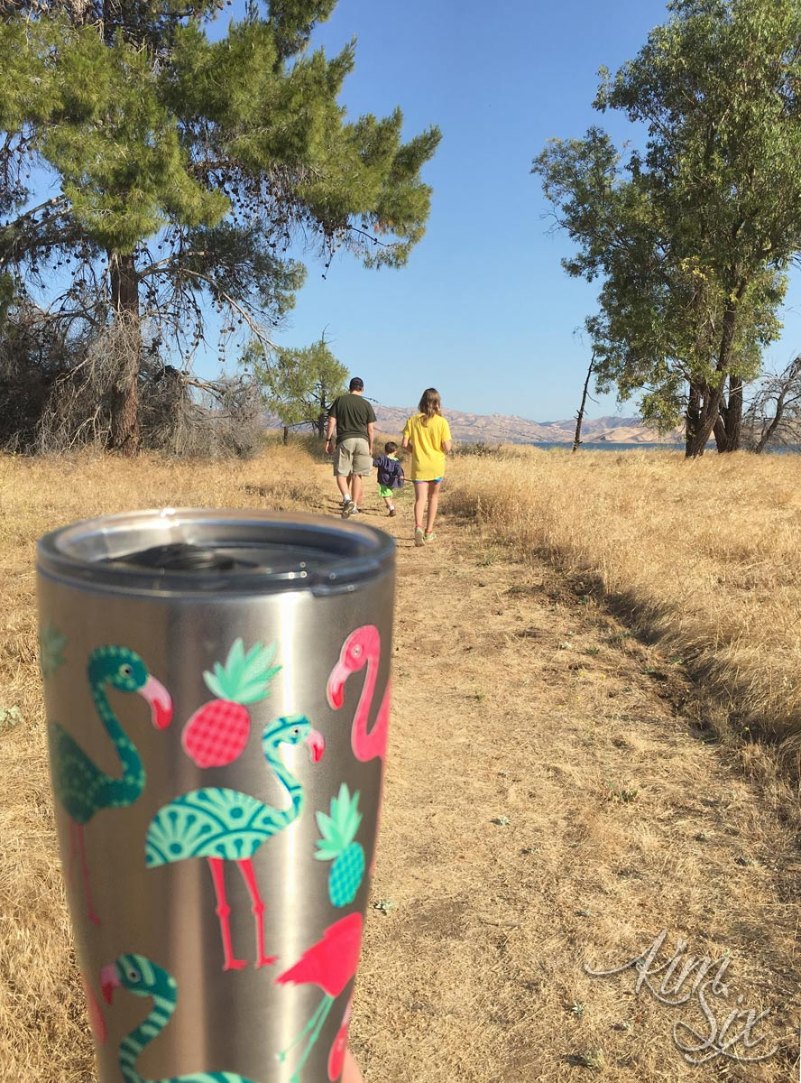 Staying hydrated with tervis while hiking
