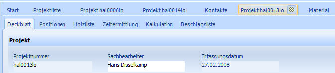 ElementsAV - Register Proejekt mit Unterfenstern