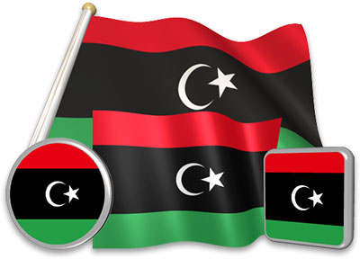 Libyan flag animated gif collection