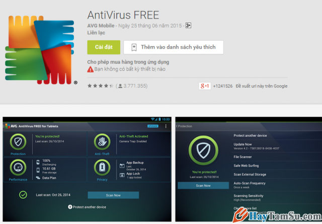 Ứng dụng diệt virut AVG AntiVirus Security