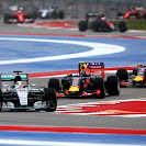 Lewis Hamilton (Mercedes) leads Daniil Kvyat and Daniel Ricciardo (Red Bull)