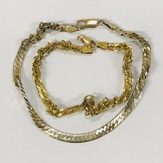 18K and 14K Damaged Bracelet Pair